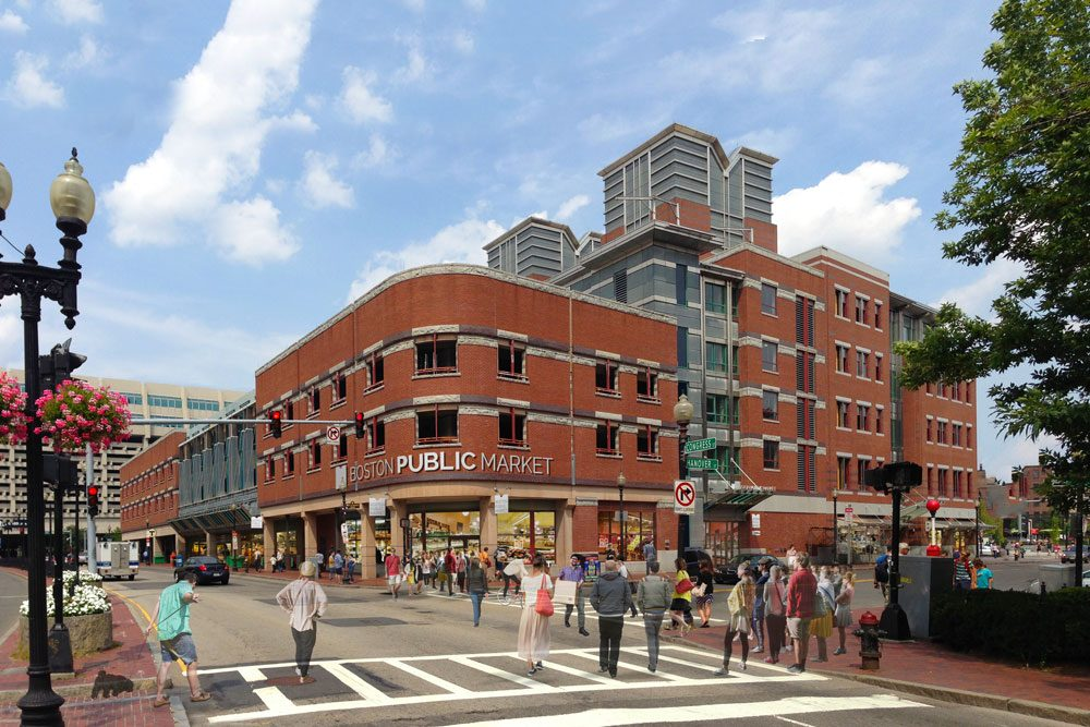 This rendering shows a view of the Boston Public Market from Congress and Hanover streets. (Courtesy of Architerra Inc.)