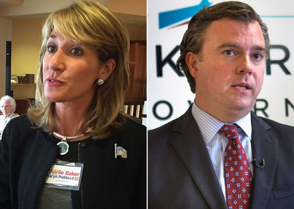 Republican lieutenant governor candidate Karyn Polito, left, and Democratic lieutenant governor candidate Steve Kerrigan (Asma Khalid, Jesse Costa/WBUR)