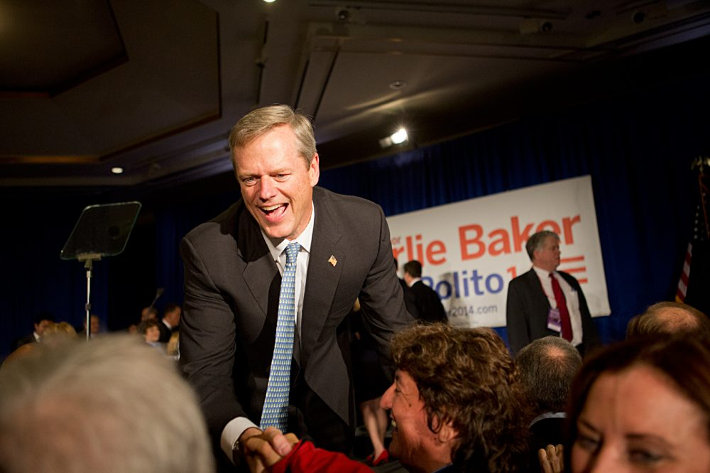 Charlie Baker greets supporters at his Election Night victory party in Boston. (Jesse Costa/WBUR)