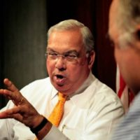 Nancy Gertner: Perhaps he was able to do what he did because he was not looking around the corner for the next rung of the electoral ladder. He had reached the pinnacle of his ambitions with the mayoralty. In this photo, Mayor Menino speaks to WBUR's Bob Oakes in a 2011 file photo. (WBUR)