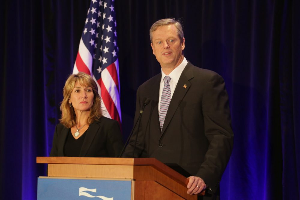 Gov.-elect Charlie Baker, along with Lt. Gov.-elect Karyn Polito, take questions after Election Day. (Robin Lubbock/WBUR)