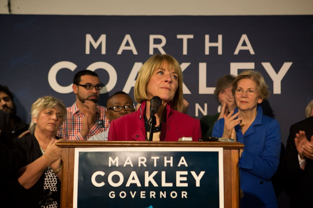 Martha Coakley speaks to supporters after her governor's race loss. (Jesse Costa/WBUR)