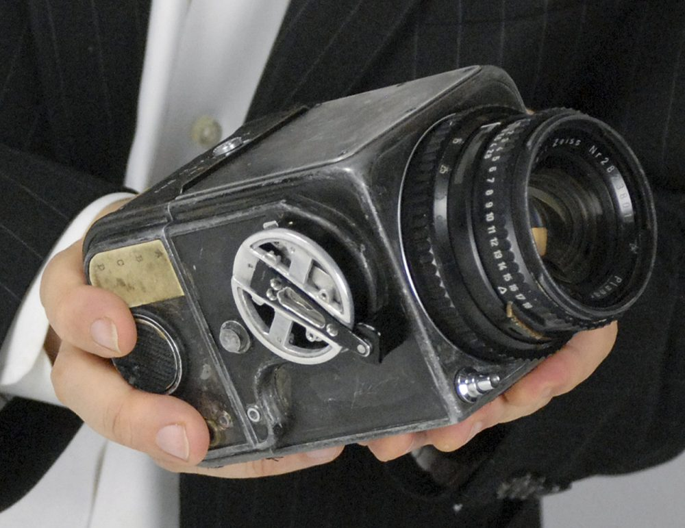 This September 2014 photo released by RR Auction of Boston, shows the Hasselblad camera body and Zeiss lens carried into orbit onboard NASA's Mercury-Atlas 8 mission in 1962 where it was used by astronaut Wally Schirra, and again on Mercury-Atlas 9 in 1963 where it was used by astronaut Gordon Cooper. (Courtesy RR Auction)