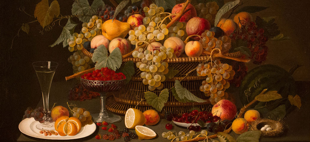 """""""Still Life with Fruit"""", Roesen, Severin (attributed to) (German), 1850-60, Oil on canvas mounted on panel, canvas: 30 1/2 in. x 40 1/2 in. (77.5 cm x 102.9 cm), Gift of Mr. and Mrs. Eliot Stetson Knowles"""