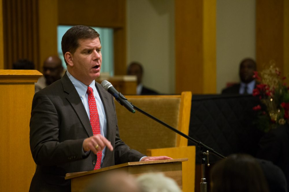 Boston Mayor Marty Walsh addresses residents, elected officials and community leaders gathered to discuss the aftermath of Ferguson and racial relations in the city. (Joe Spurr/WBUR)