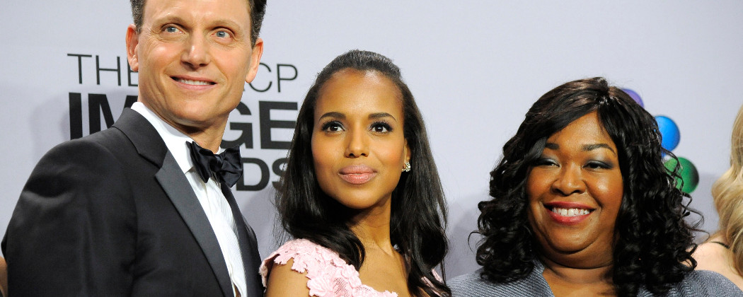 Tony Goldwyn, Kerry Washington and Shonda Rhimes pose at the 44th Annual NAACP Image Awards in Los Angeles on Feb. 1, 2013. (Chris Pizzello/Invision/AP)
