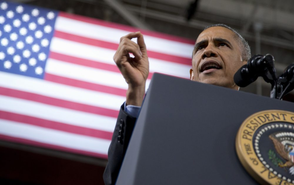 President Obama speaks about immigration, Friday at Del Sol High School in Las Vegas. (Carolyn Kaster/AP)