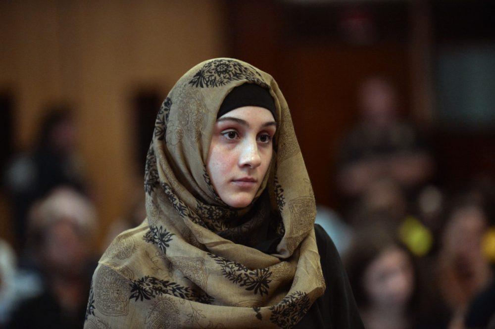 Ailina Tsarnaeva, sister of Boston Marathon bombing suspect Dzhokhar Tsarnaev, at an earlier, unrelated court hearing in New York.  (AP Pool)