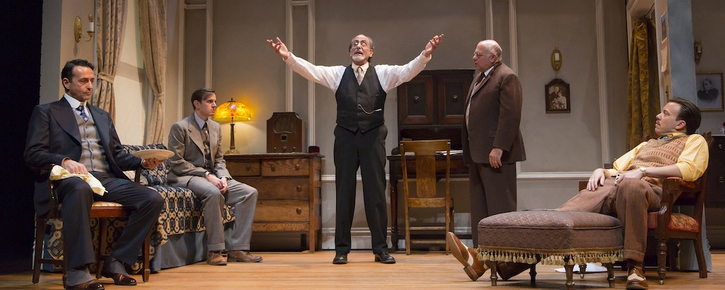 """Will LeBow and the cast of """"Awake and Sing!"""" at the Hutington Theatre Company. From left, Stephen Schnetzer, Michael Goldsmith, LeBow, David Wohl and Eric T. Miller. (T. Charles Erickson)"""