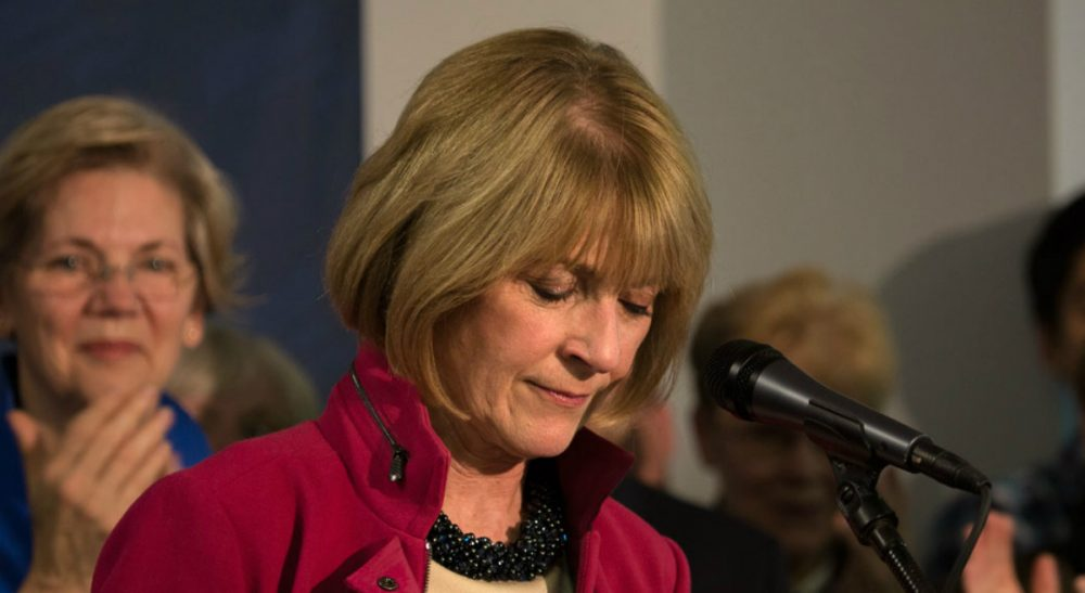 Why is it that a Massachusetts attorney general seeking higher office hasn't won in nearly half a century? Pictured: Former Massachusetts Attorney General and Democratic gubernatorial candidate Martha Coakley, who conceded defeat to her Republican rival Charlie Baker, Wednesday, November 5, 2014. (Jesse Costa/WBUR)