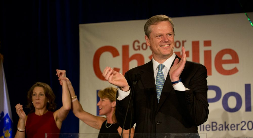 Election night, November 4, 2014. A victory for the better-funded Republican gubernatorial candidate, Charlie Baker. (Jesse Costa/WBUR)