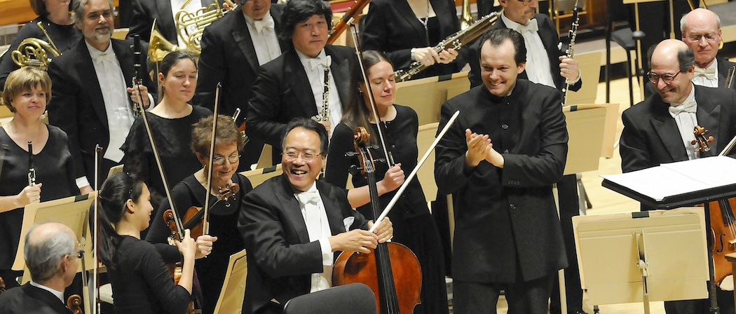 Andris Nelsons, Yo-Yo Ma and the Boston Symphony Orchestra following their performance of Prokofiev. (Stu Rosner)