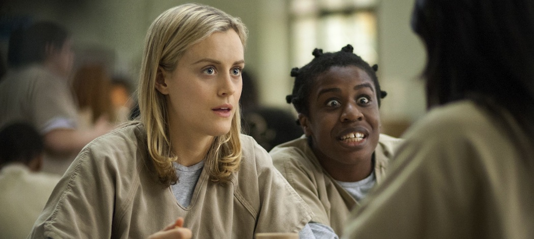 "Taylor Schilling and Uzo Aduba in ""Orange Is the New Black."" (Paul Schiraldi/Netflix/AP)"