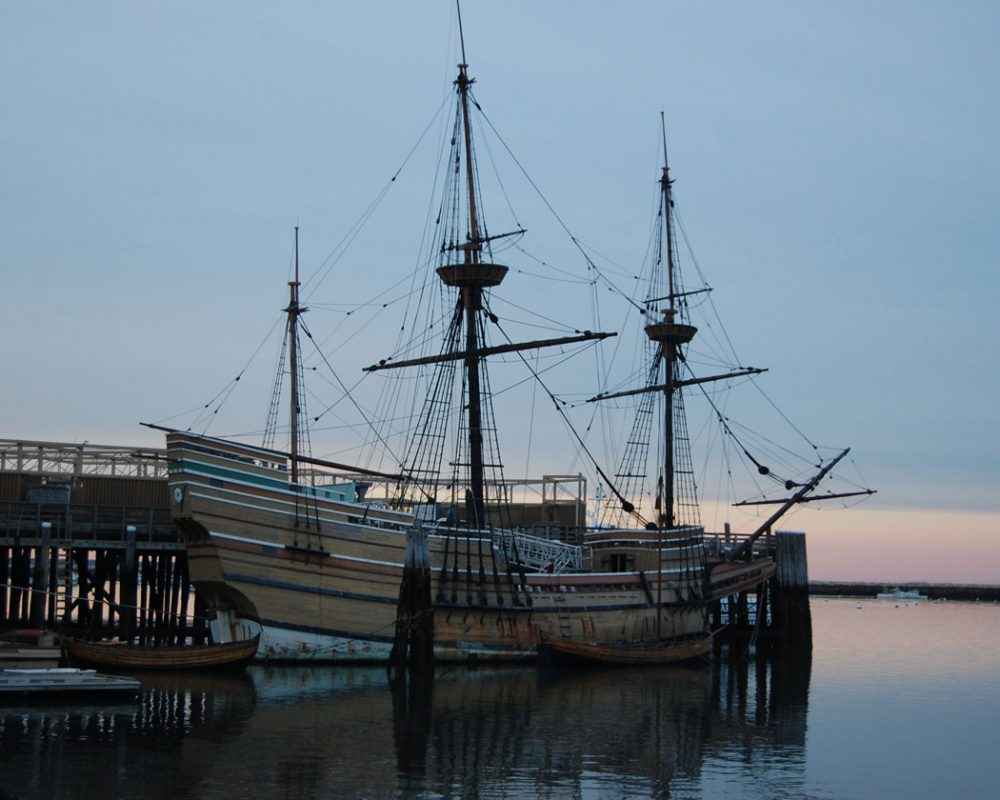 The Mayflower II moored along the Plymouth waterfront from 2014. (Greg Cook for WBUR)