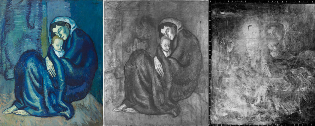 "Beneath Pablo Picasso's ""Mother and Child"" hides a portrait of Picasso's friend, poet Max Jacob. You can see sort of the arc of some eyebrows. (Harvard Art Museums)"