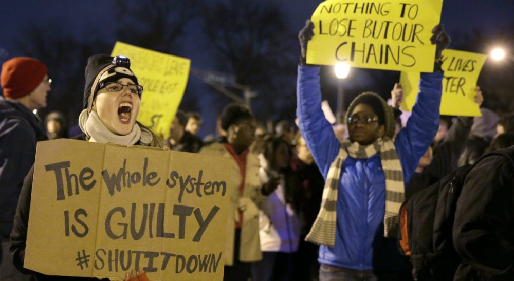 Tiziana Dearing: Certain members of the media seem to think rioting is a uniquely black form of expression. It isn't. In this photo, protesters block streets after the announcement of the grand jury decision, Monday, Nov. 24, 2014, in St. Louis, Mo. A grand jury has decided not to indict Ferguson police officer Darren Wilson in the shooting death of 18-year-old Michael Brown. (Jeff Roberson/AP)