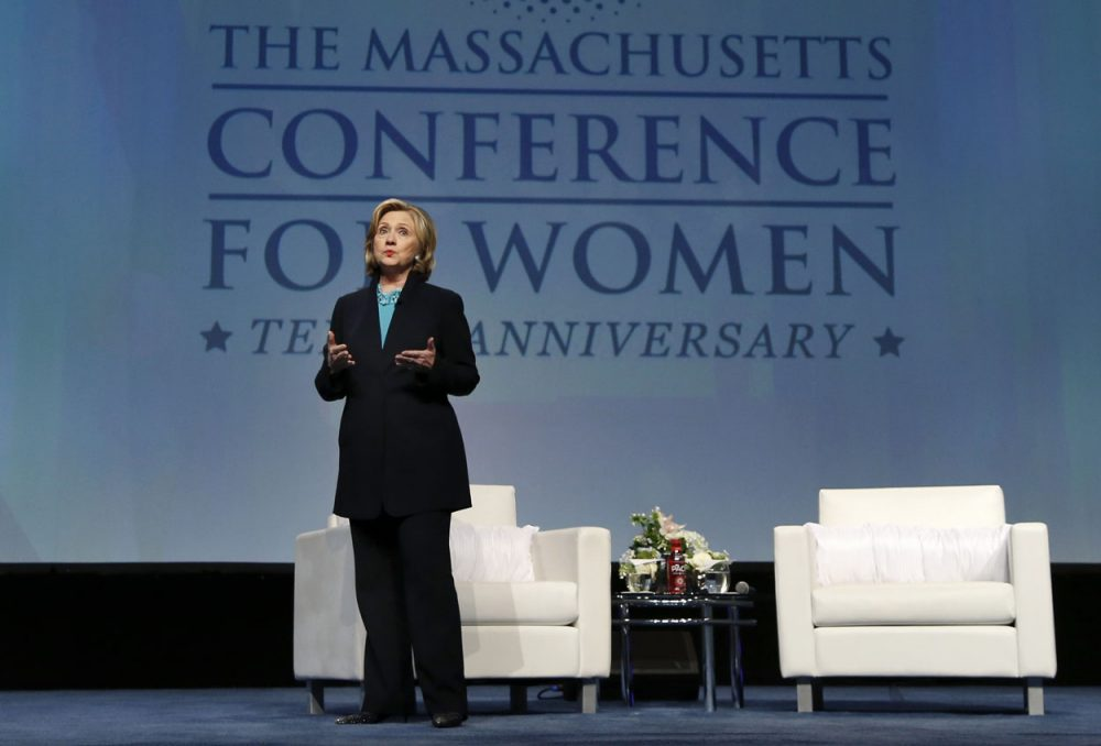 Former Secretary of State Hillary Rodham Clinton speaks at the Massachusetts Conference for Women in Boston on Thursday. (Elise Amendola/AP)