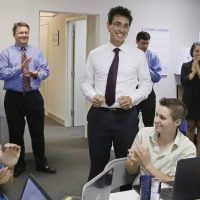Evan Falchuk, who won enough votes in the Massachusetts governor's race to win official political party designation, is pictured at his Boston campaign headquarters, Monday, June 23, 2014. (Stephan Savoia/AP)