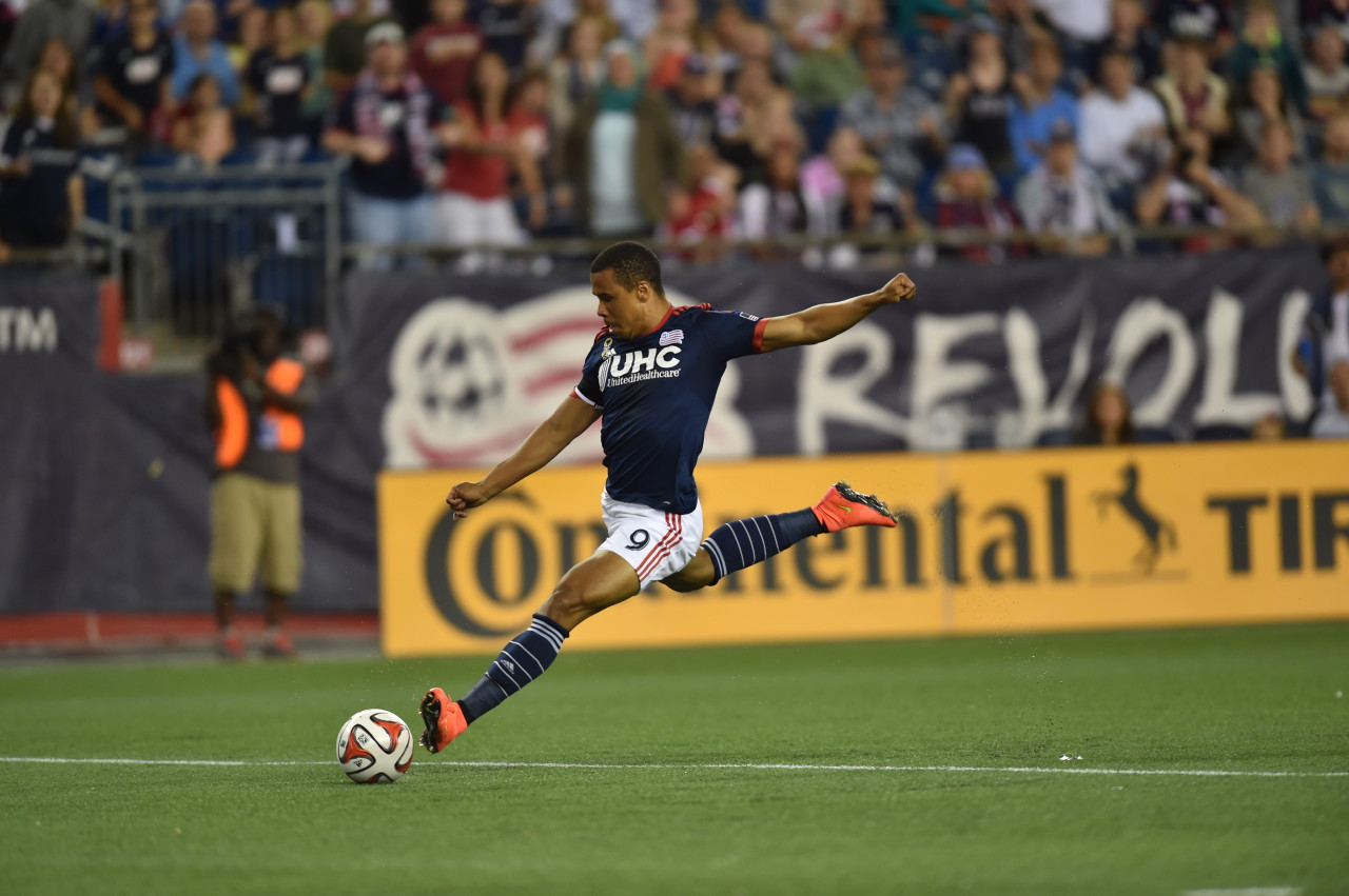 Charlie Davies takes a shot at Gillette Stadium in a game against the Chicago Fire, Sept. 7, 2014. (Gretchen Ertl/Revolution Communications)