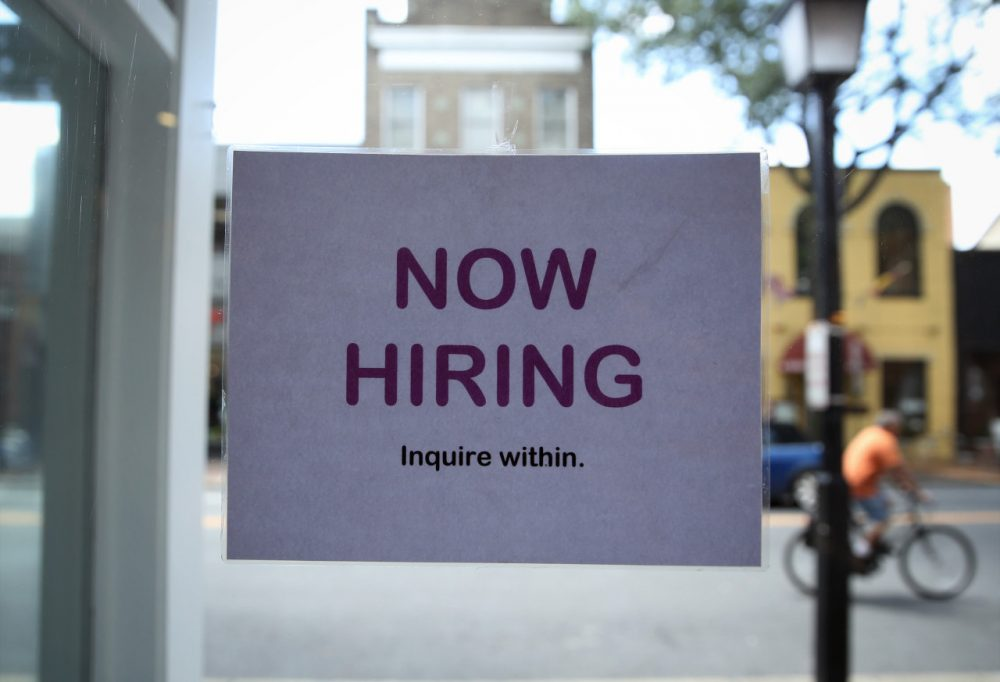 A hiring sign is seen July 5, 2013 in Old Town Alexandria, Virginia. (Alex Wong/Getty Images)