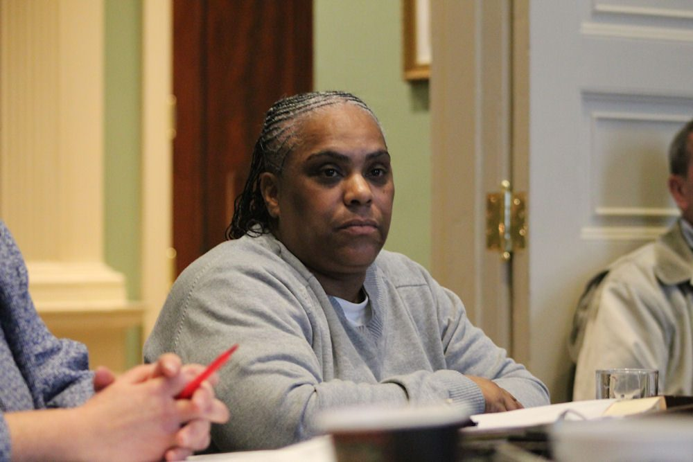 Deanne Hamilton appears before the Governor's Council earlier this month in her bid for clemency. (Andy Metzger/State House News Service)
