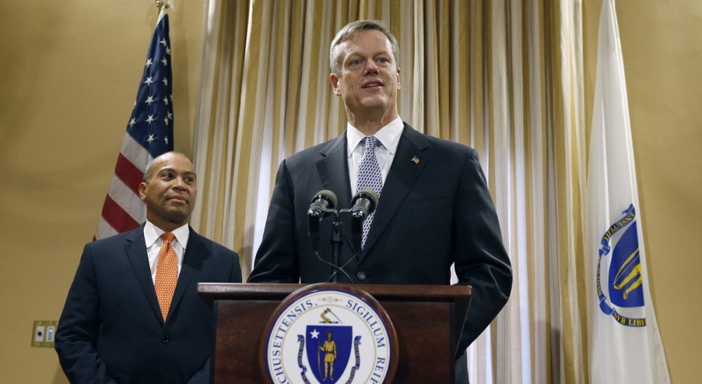 Governor-elect Charlie Baker has a real-time opportunity to demonstrate that his administration will not represent business-as-usual at the State House.  Baker is pictured here during a news conference with Gov. Deval Patrick, Wednesday, Nov. 5, 2014 in Boston. (Michael Dwyer/AP)