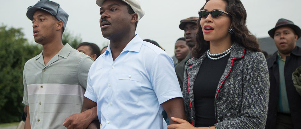 "This photo released by Paramount Pictures shows David Oyelowo, center, as Martin Luther King, Jr. and Carmen Ejogo, right, as Coretta Scott King in the film, ""Selma."" (Atsushi Nishijima/Paramount Pictures)"