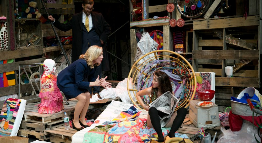 Kate Mulligan, as would-be Senator Smith, implores her daughter, Romi (Olivia Thirlby), to leave her squat. (Evgenia Eliseeva/Courtesy)