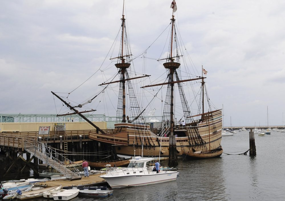 In 2008, a replica of the Mayflower ship sits docked in Plymouth, Mass. (Lisa Poole/AP)