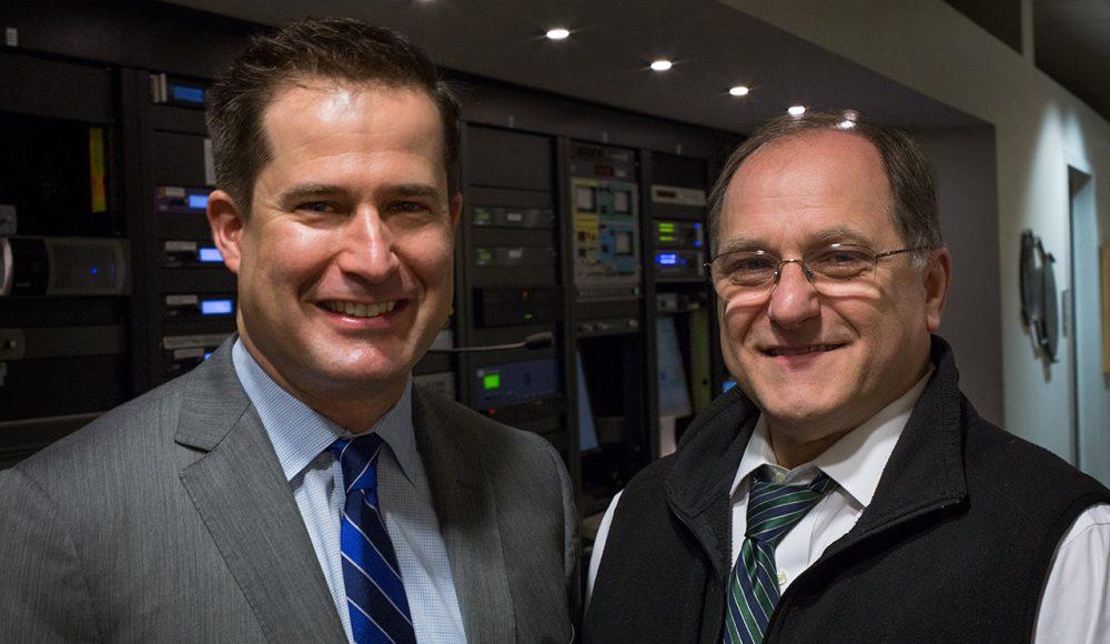 U.S. Rep.-elect Seth Moulton, left, and Rep. Michael Capuano (Robin Lubbock/WBUR)