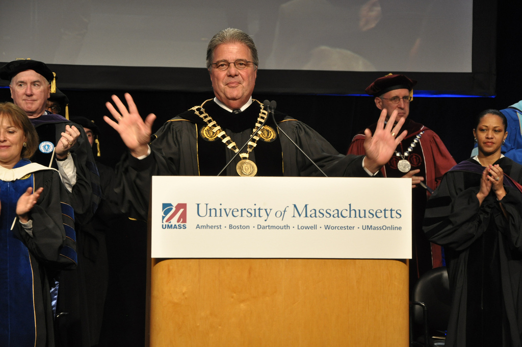 Robert Caret during his installation as the president of the University of Massachusetts in 2011. (Matt Bennett/Governor's Office)
