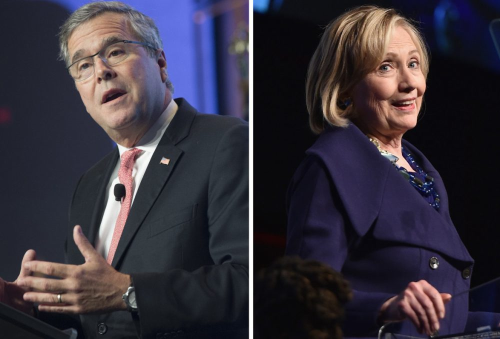 Republican Jeb Bush (left) has announced he's exploring a run for president. Hillary Clinton (right) is pursuing the Democratic nomination in 2016. (Saul Loeb, Mike Coppola/AFP/Getty Images)