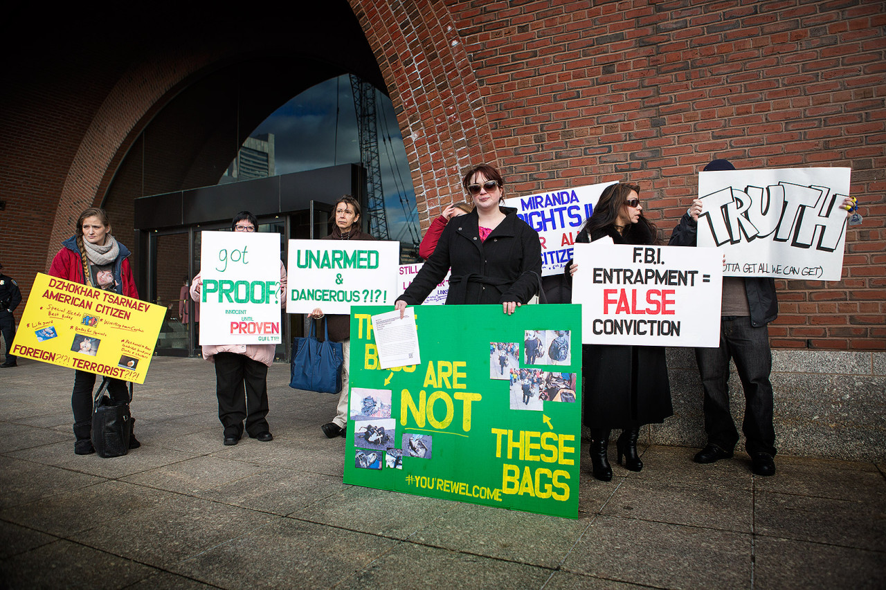 A small group of protesters gathered outside the courthouse, holding signs supporting Dzhokhar Tsarnaev.