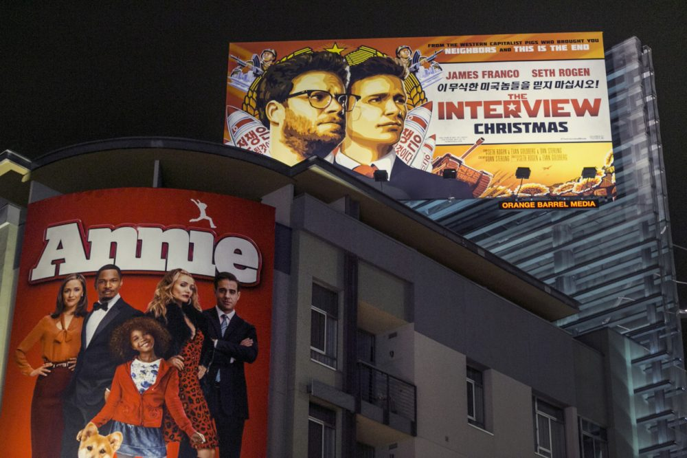 "A banner for ""The Interview""outside Arclight Cinemas in Hollywood last week. (Damian Dovarganes/AP)"