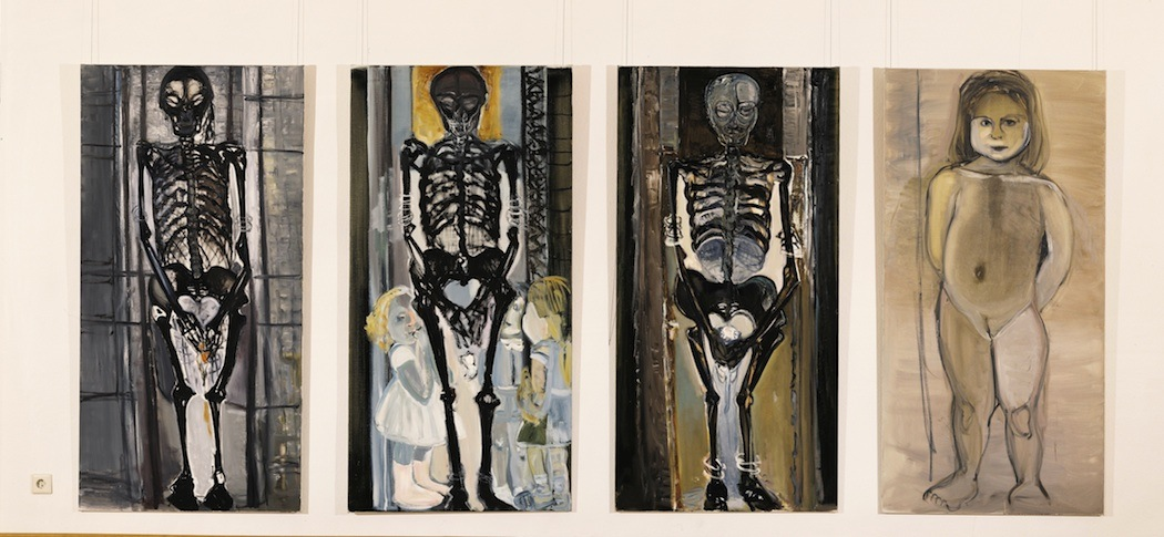 "Marlene Dumas. ""The Messengers,"" 1992. Each panel 70 7/8 x 35 1/2 inches. Oil on canvas. Gift of Barbara Lee, The Barbara Lee Collection of Art by Women."