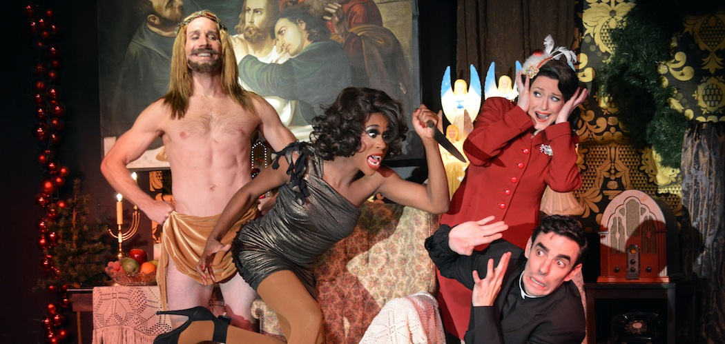 """Casey Preston, Qya  Crystal, Darcie Champagne and Paul Melendy in Ryan Landry and the Gold Dust Orphans' """"Jesus Christ, It's Christmas"""" at Machine.  (Michael von Redlich)"""