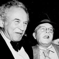 Authors Norman Mailer and Truman Capote clown around at a Random House book party at a New York discotheque, March 21, 1978.  (Ron Frehm/AP)