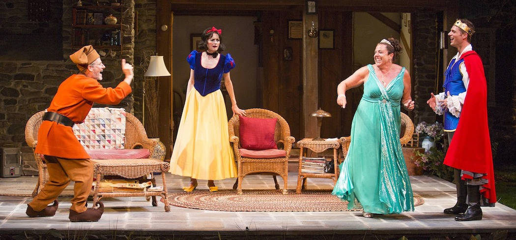 "Martin Moran, Candy Buckley, Marcia DeBonis, and Tyler Lansing Weaks in Christopher Durang's ""Vanya and Sonia and Masha and Spike,"" directed by Jessica Stone, based on the Broadway direction of Nicholas Martin, playing Jan. 2 – Feb. 1 at the Huntington Theatre Company. ( Jim Cox)"