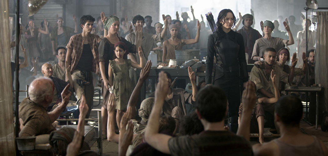 "Jennifer Lawrence (in all black) stars as Katniss Everdeen in ""The Hunger Games: Mockingjay – Part 1."" (Murray Close)"