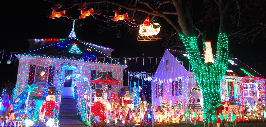 where to see the best christmas lightsand a lobster trap menoraharound boston