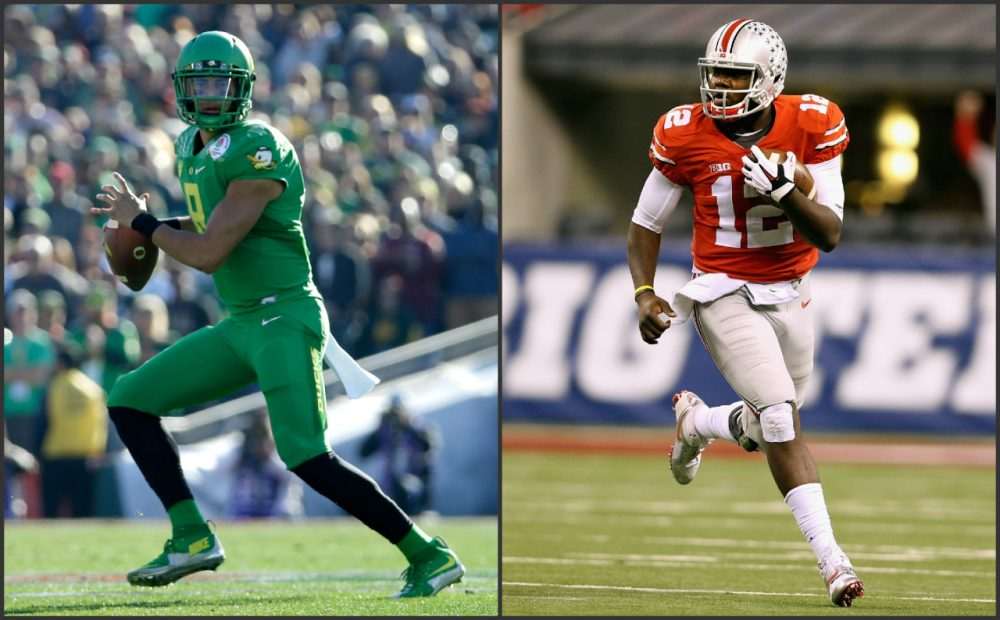 Marcus Mariota (left) and No. 2 Oregon will face Cardale Jones (right) and No. 4 Ohio State in the College Football Playoff championship on Jan. 12. (Jeff Gross and Andy Lyons/Getty Images)