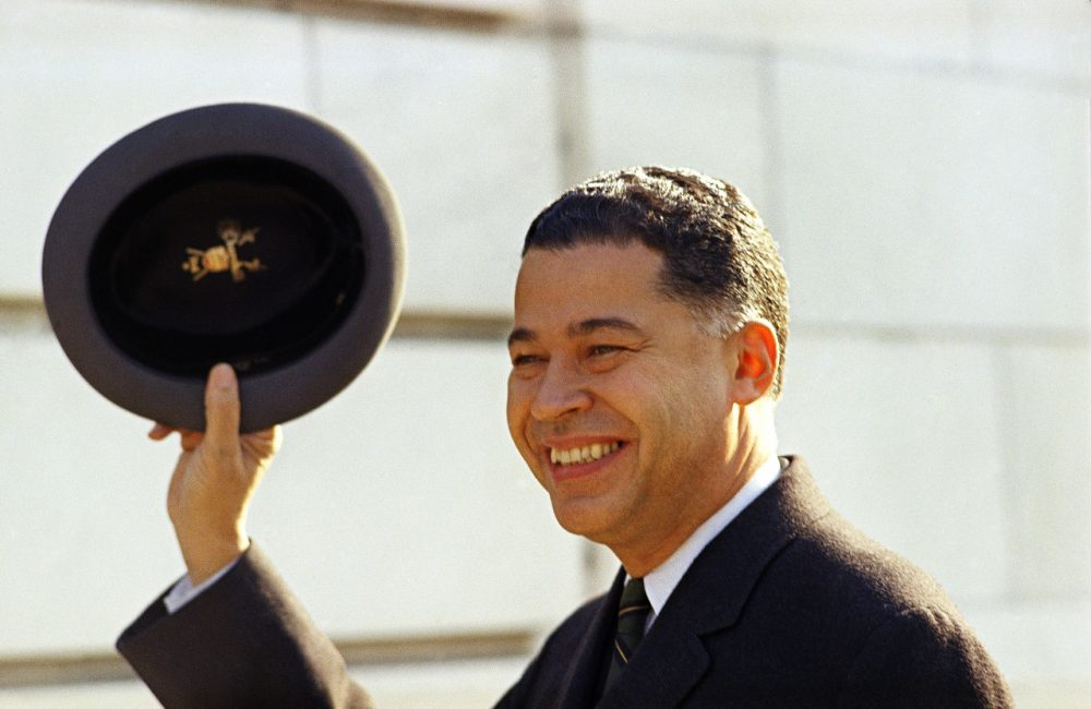 Edward Brooke (Sen. Republican Massachusetts) shown waving hat, Jan. 12, 1967. (Charles Tasnadi/AP)