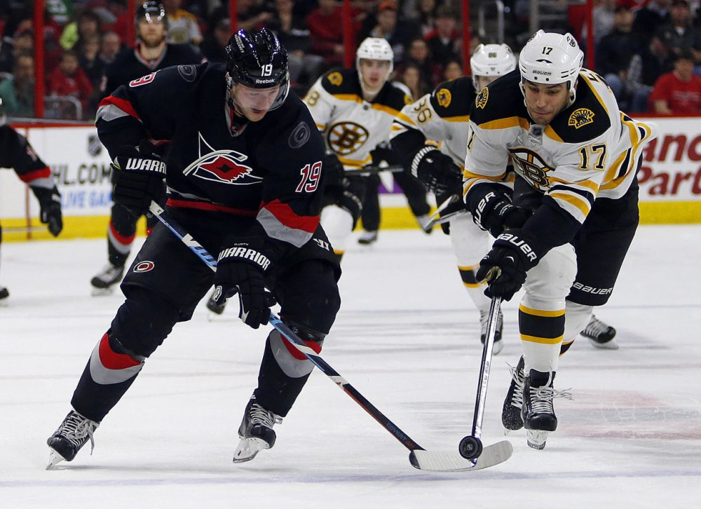 Carolina Hurricanes' Jiri Tlusty (19) of Czech Republic,  and Boston Bruins' Milan Lucic (17) vie for the puck during the second period of an NHL hockey game in Raleigh, N.C. on Sunday. (Karl B DeBlaker/AP)