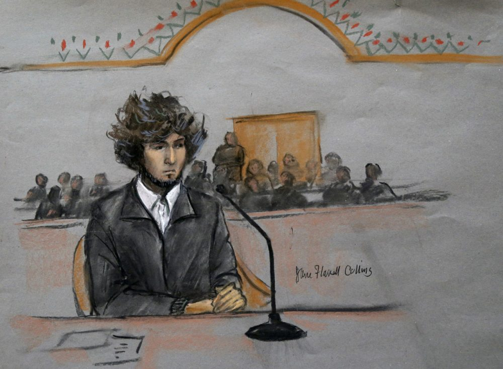 In this courtroom sketch, Boston Marathon bombing suspect Dzhokhar Tsarnaev is depicted sitting in federal court in Boston in 2014. (Jane Flavell Collins/AP)