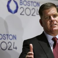 James Davitt Rooney: The U.K.'s experience hosting the 2012 Games can be a beacon for Boston as it seeks to stoke long-term economic development. Pictured: Boston Mayor Marty Walsh addresses an audience during an event held to generate public interest in a 2024 Olympics bid for the city of Boston at a bar, Monday, Oct. 6, 2014, in Boston. (Steven Senne/AP)