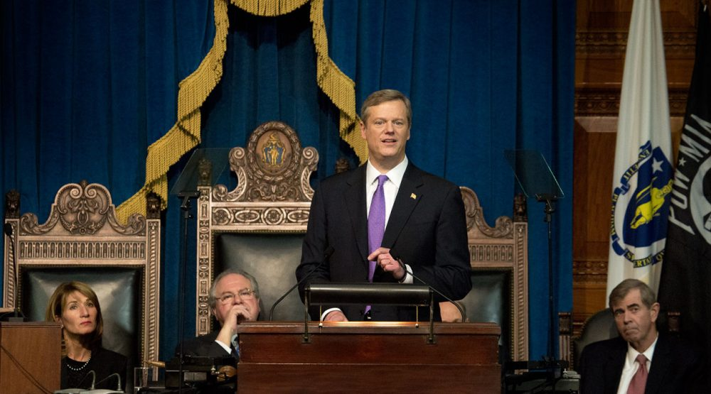 Gov. Charlie Baker delivers his inaugural address Thursday at the State House. (Jesse Costa/WBUR)