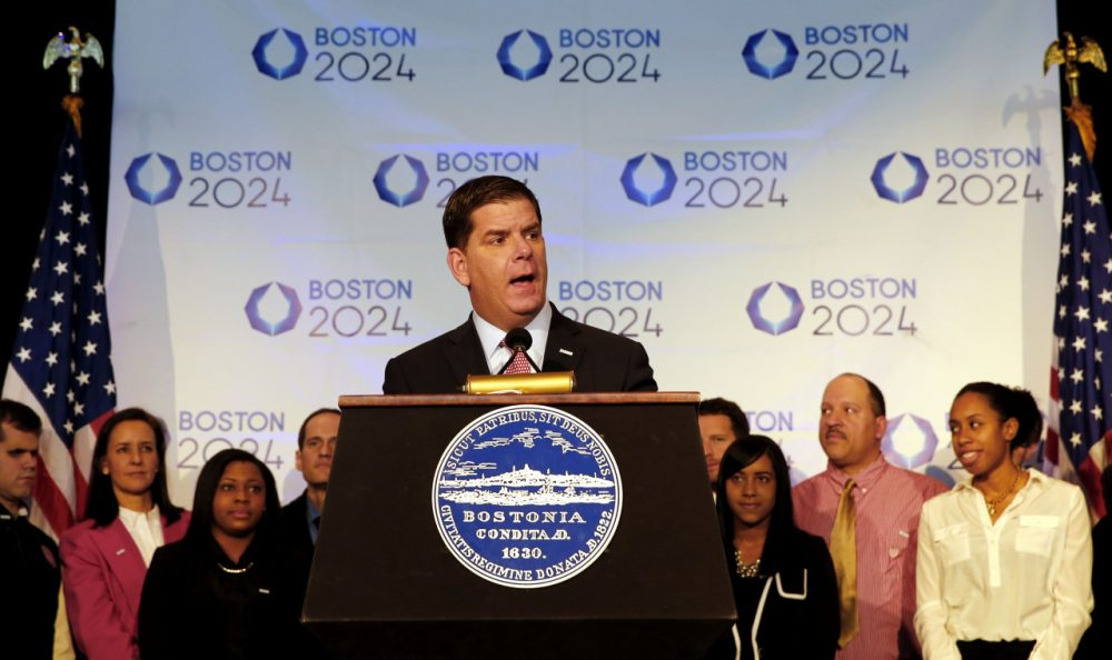 Boston Mayor Martin Walsh speaks during a news conference in Boston Friday, Jan. 9, 2015 after Boston was picked by the USOC as its bid city for the 2024 Olympic Summer Games. (AP Photo/Winslow Townson)