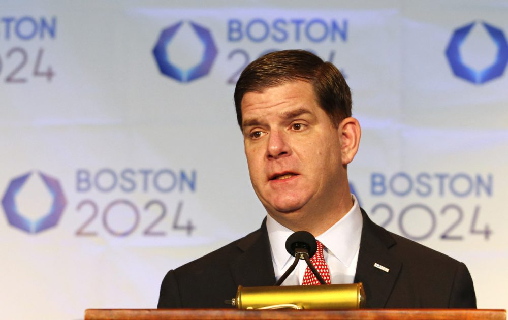 Boston Mayor Marty Walsh speaks during a news conference Friday, after Boston was picked by the USOC as its bid city for the 2024 Summer Games. (Winslow Townson/AP)