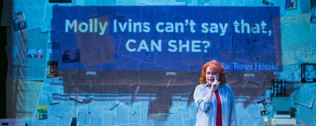 "Karen MacDonald as Molly Ivins in ""Red Hot Patriot"" (Mark S. Howard/Lyric Stage)"