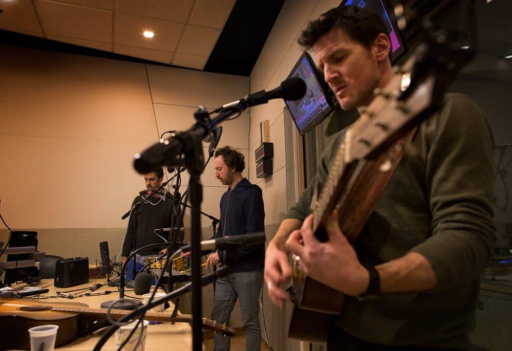 Guster does a sound check in WBUR's studio. (Robin Lubbock/WBUR)